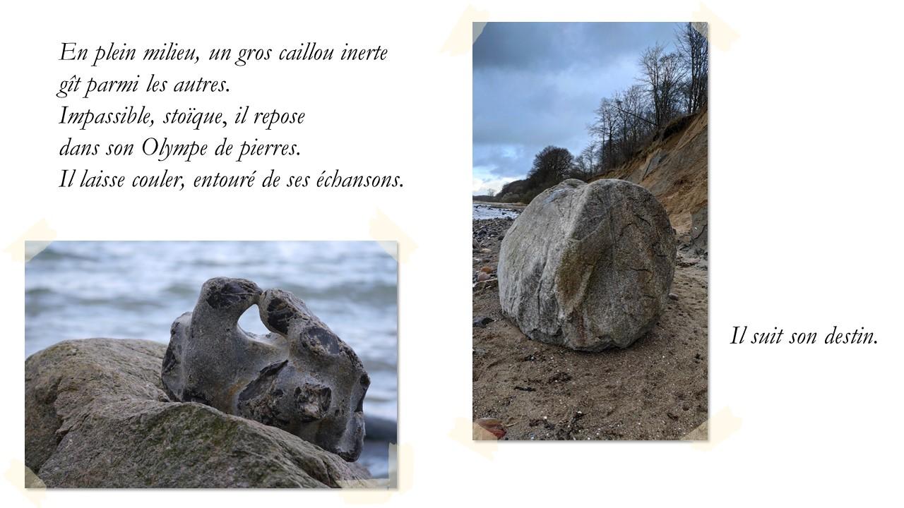 En plein milieu, un gros caillou inerte  gît parmi les autres.  Impassible, stoïque, il repose   dans son Olympe de pierres. Il laisse couler,  entouré de ses échansons.  Il suit son destin.
