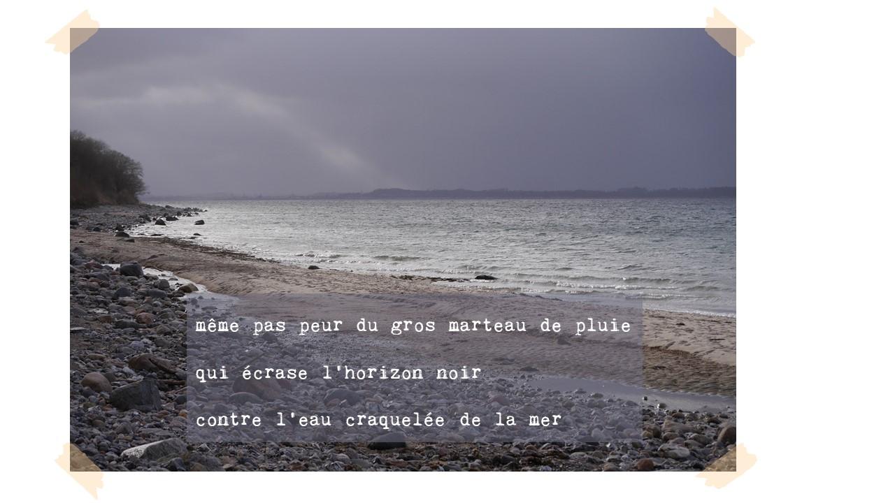 même pas peur du gros marteau de pluie  qui écrase l'horizon noir  contre l'eau craquelée de la mer